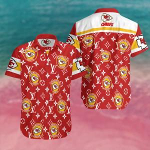 Kansas City Chiefs Summer Short Sleeve Hawaiian Beach Shirt