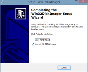 Completing the Win32DiskImager Setup Wizard