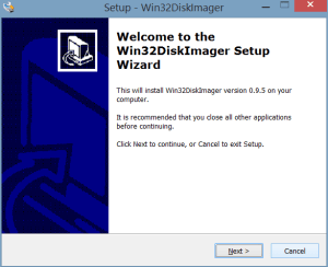Welcome to the Win32DiskImager Setup Wizard