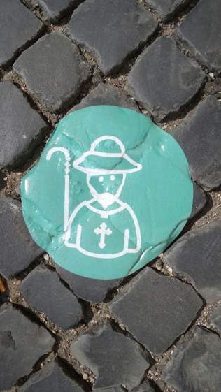 Sign of a pilgrim path in Rome