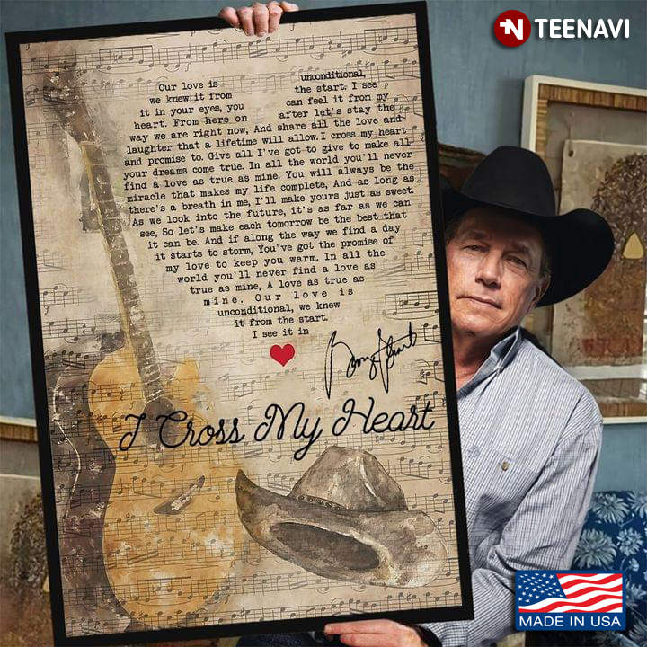 vintage sheet music theme i cross my heart lyrics with guitar heart typography george strait autograph