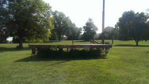 Fort Reno Park concert stage readies for performers after controversy nearly stopped it. Photo by Brenda Vega.