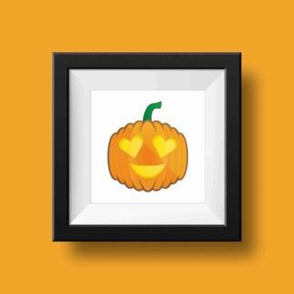heart pumpkin emoji print