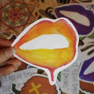 orange lips sticker 1
