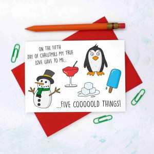 12 Days of Christmas, Snowman Pun Card, Penguin Pun Card, Funny Christmas Card, TeePee Creations, Confetti Card, Ice Pun Card, Lolly Pun Card, 5 Gold Rings, Christmas Card Set, Christmas Card Pack, 5th Day of Xmas, Funny Holidays Card