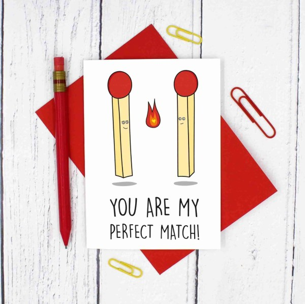 TeePee Creations, Confetti Card, Anniversary Card, Valentines Day Card, Funny Pun Card, Fun Love Card, Perfect Match Card, Match Pun Card, Just Because Card, Card for Boyfriend, Card for Girlfriend, Card for Wife, Card for Husband