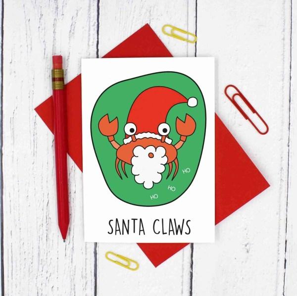 Pun Christmas Card, Funny Christmas Card, Santa Claus Card, Santa Claws Card, Animal Lover Card, Funny Holidays Card, Christmas Card Pack, Christmas Card Set, Tipi Creations, Christmas Carol Card, Confetti Card, Crab Pun Card, Santa Pun Card
