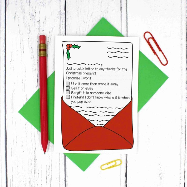 Funny Christmas Card, Thank You Xmas Card, Sarcastic Card, Cheeky Xmas Card, Rude Christmas Card, TiPi Creations, Letter Thank You, Letter Pun Card, Christmas Letter, Confetti Card, Customisable Card, Gift Thank You Card, Handwritten Letter