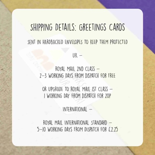Shipping Details for greetinsg card - all sent in hardback envelopes with FREE postage - upgrade to 1st class for 20p