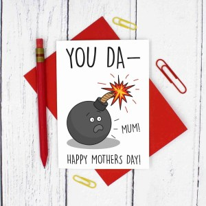 Funny Mothers Day, Bomb Pun Card, You Da-Bomb, Happy Mothers Day, Confetti Card, TeePee Creations, Funny Pun Card, Fun Card for Mum, Card for Stepmum, Explosion Card, Youre Amazing, You Da-Mum, Compliment Card