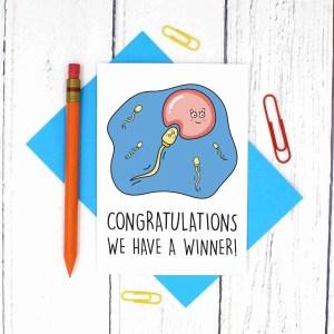 New Mum Card, New Dad Card, Christening Card, Baby Shower Card, Funny Pregnancy Card, Baptism Card, TeePee Creations, Sperm Pun Card, Congratulations Card, Confetti Card, Cute New Baby Card, Expecting Baby Card, Egg Pun Card