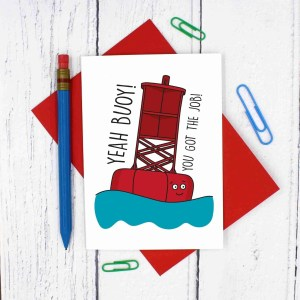 New Job Card, Funny Pun Card, Yeah Boy Card, Congratulations Card, Yeah Buoy Pun, Boat Pun Card, Confetti Card, TeePee Creations, Yeah Boi Card, Happy Card, Well Done Card, Card for Work, Card for Colleague