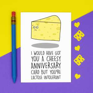 TP Creations, Anniversary Card, Confetti Card, Lactose Intolerant, Lactose Free Card, Cheesy Love Card, Funny Love Card, Card for Boyfriend, Card for Girlfriend, Dairy Free Card, Cheese Lover Card, Rude Love Card, Funny Pun Card