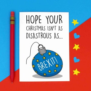 Brexit Christmas, Funny Pun Card, TeePee Creations, Confetti Card, Disaster Xmas Card, Brexit Bauble Card, Political Joke Card, Theresa May Card, European Union Card, EU Card, Topical Card, Boris Johnson Card, Jeremy Hunt Card