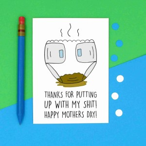 From Bump Card, From Baby Card, TeePee Creations, Rude Mum Card, Cheeky Mum Card, Mothers Day Card, Put Up With Shit, Put Up With Me, Nappy Pun Card, Diaper Pun Card, Stinky Nappy, Confetti Card, Funny Card