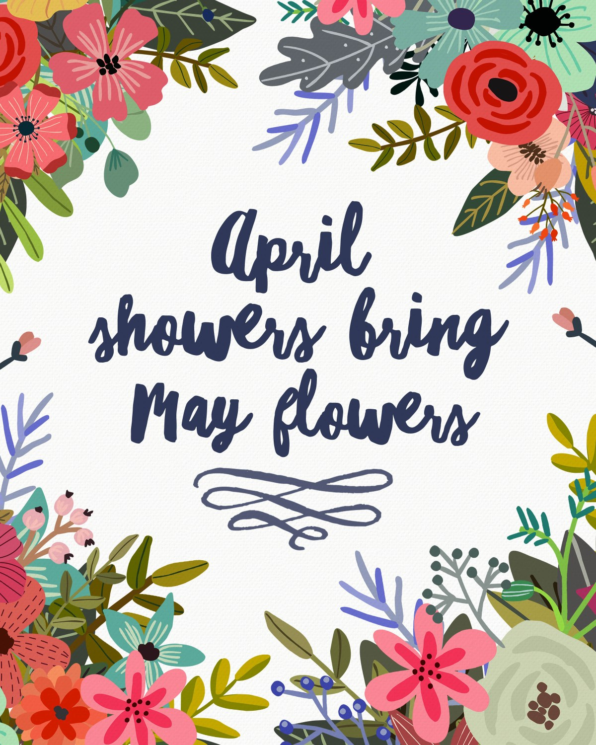 Free Printable April Showers Bring May Flowers www.TeepeeGirl.com