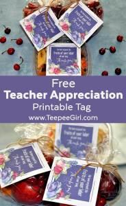 Teacher Appreciation Printable Tag