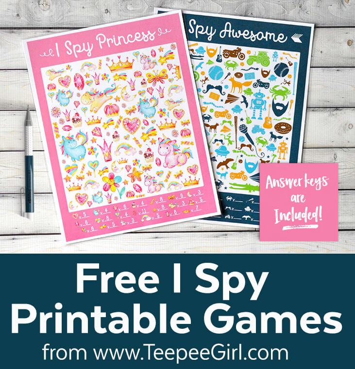 Free I Spy Princess and I Spy Awesome printable games from www.TeepeeGirl.com.