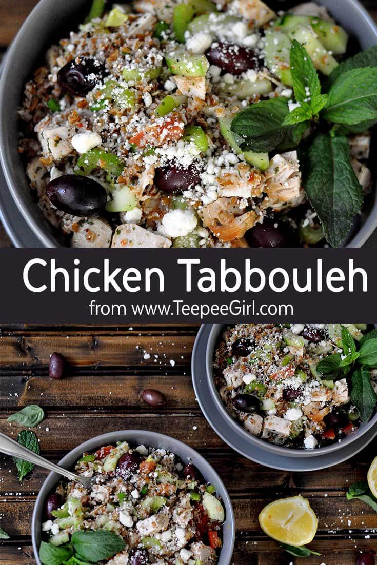 This chicken tabbouleh is healthy, hearty, and delicious! It's the perfect summer meal or side dish. Get the recipe at www.TeepeeGirl.com!