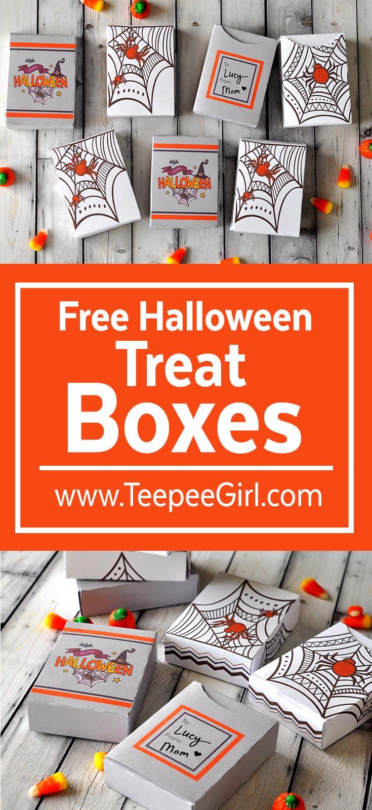 These free Halloween treat boxes are the perfect way to share treats and toys this holiday season! You can fill these boxes with candy, toys, crayons...anything! They are easy to put together and so cute! Grab them at www.Teepeegirl.com