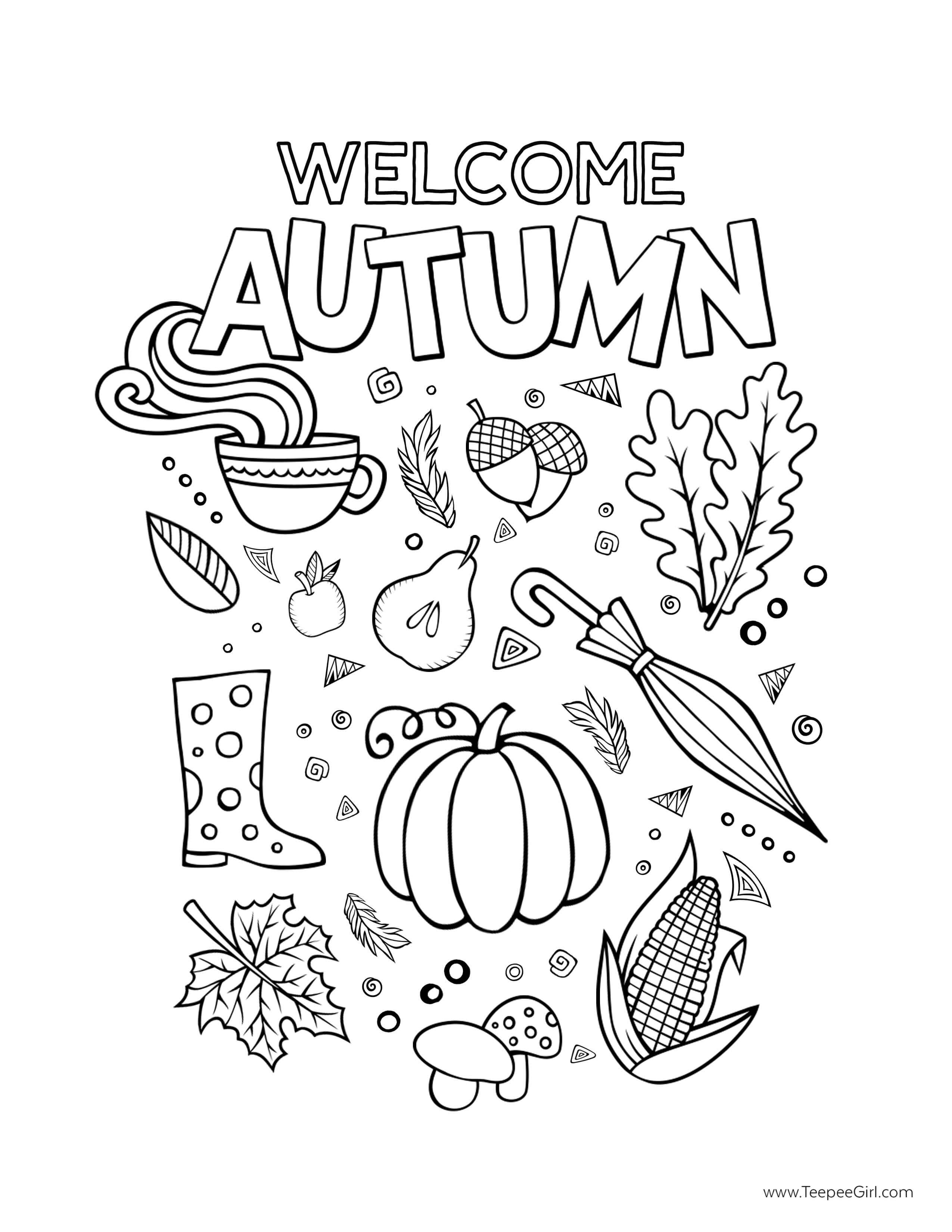 autumn coloring book pages | Free Thanksgiving Coloring Pages - Teepee Girl