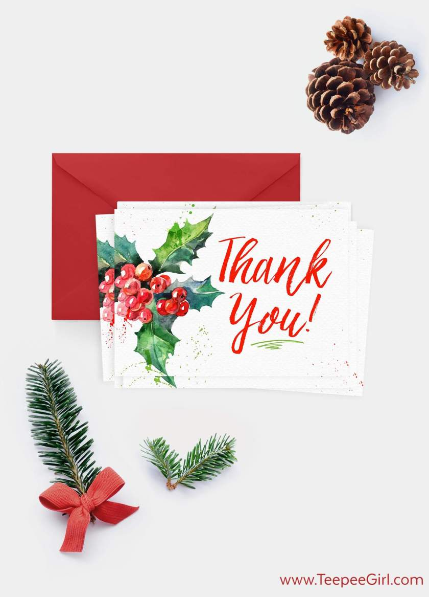 Use this free Christmas thank you card to show your gratitude to all those around you this holiday season and #LIGHTtheWORLD. Click here to get your free card from www.TeepeeGirl.com!