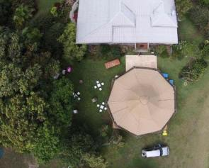 aerial shot of a tipi