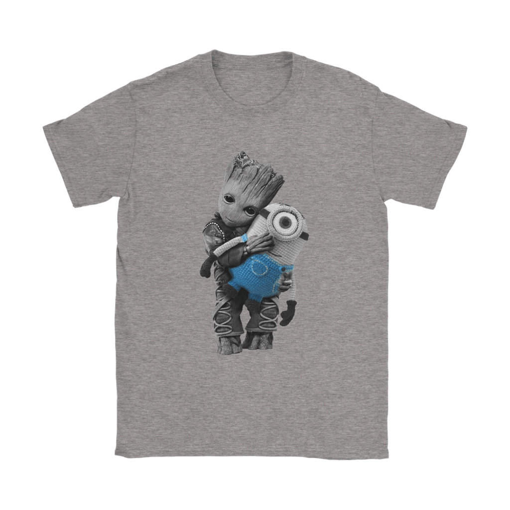 Baby Groot Hugging Minion Doll Despicable Me Shirts 187 The