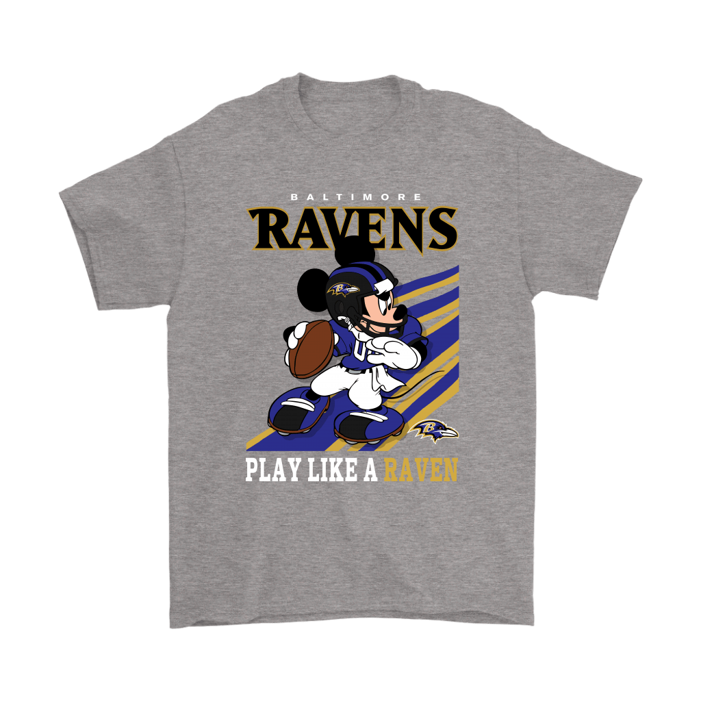 Baltimore Ravens Slogan Play Like A Raven Mickey Mouse NFL Shirts 6