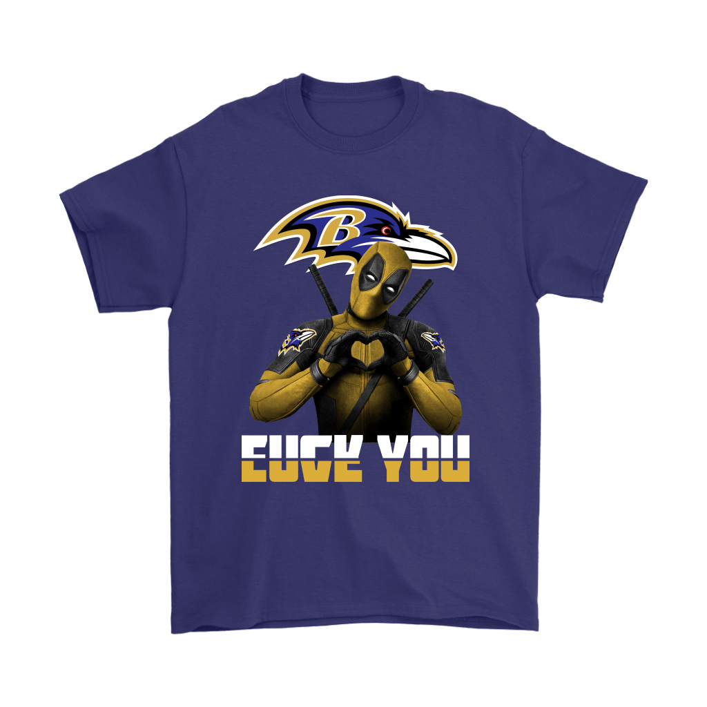 Baltimore Ravens x Deadpool Fuck You And Love You NFL Shirts 4