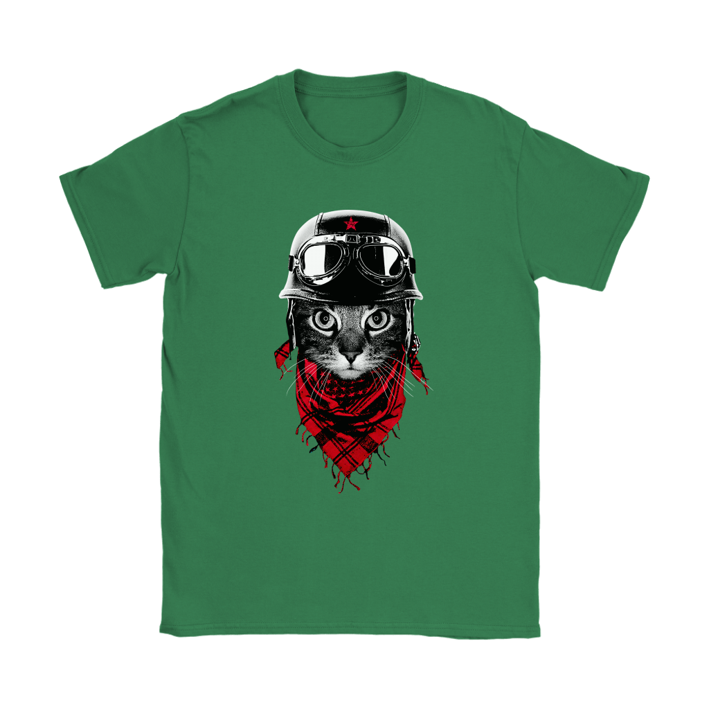 Cat With Red Scarf And Biker Helmet Biker Cat Style Shirts 14