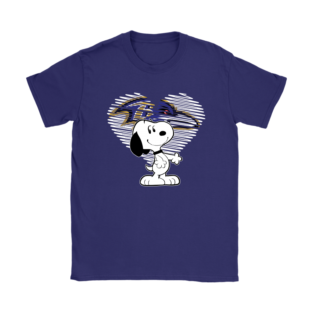 I Love Baltimore Ravens Snoopy In My Heart NFL Shirts 10