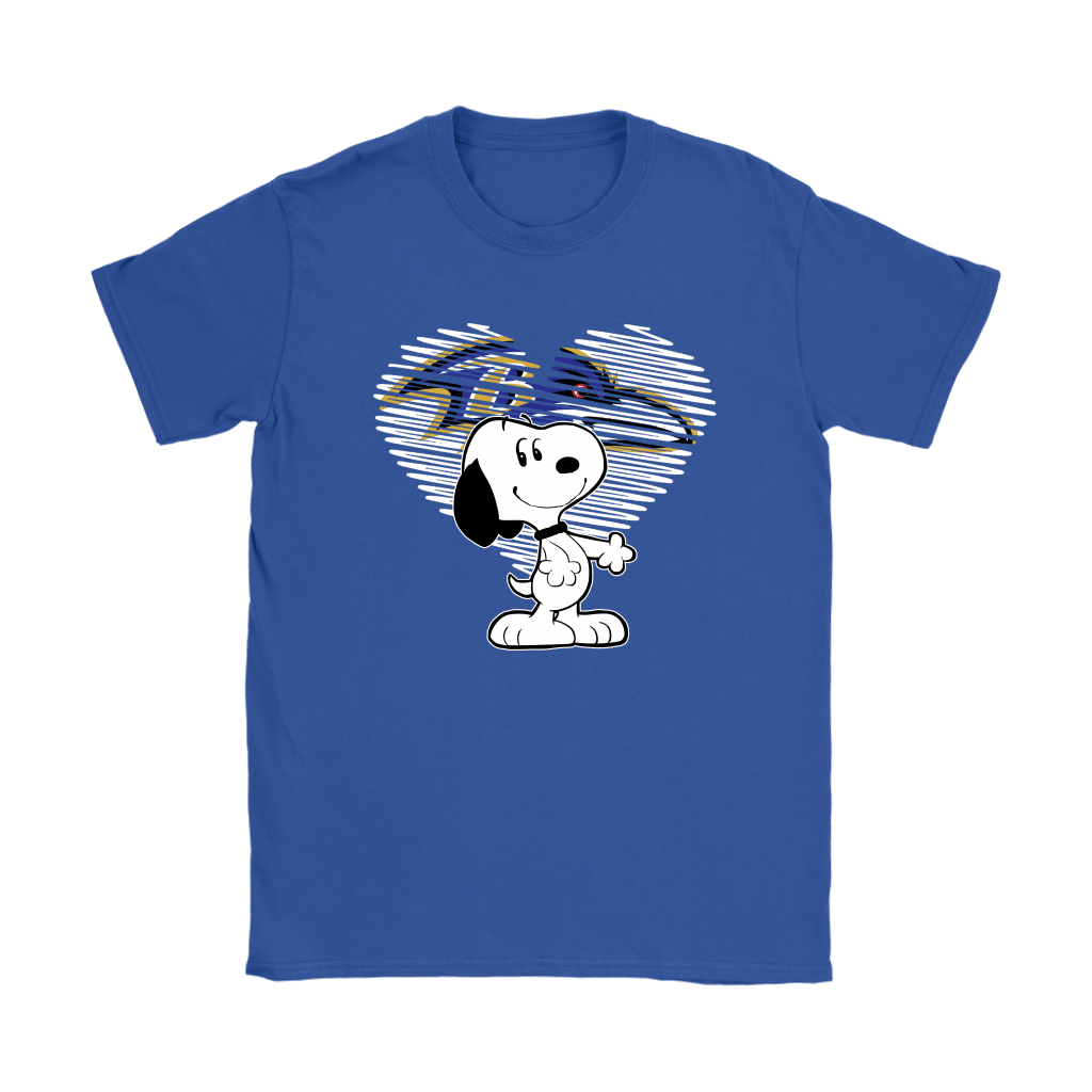 I Love Baltimore Ravens Snoopy In My Heart NFL Shirts 11