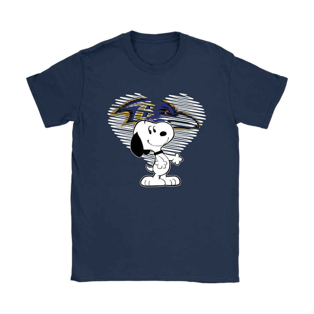 I Love Baltimore Ravens Snoopy In My Heart NFL Shirts 9