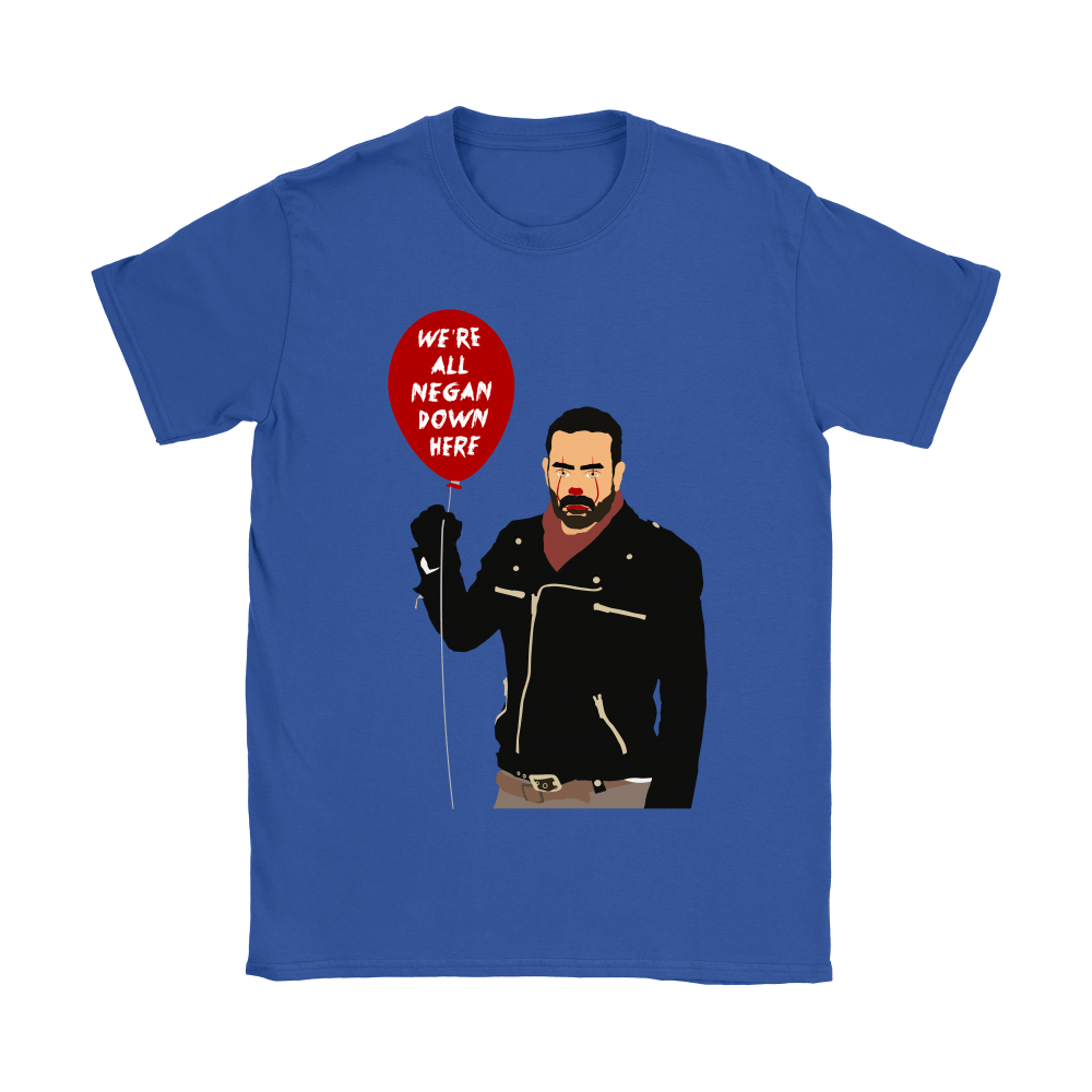 IT Pennywise And Walking Dead Parody Negan Down Here Stephen Shirts 14