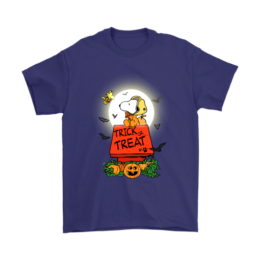 Halloween Trick Or Treat Pumbkin Woodstock And Snoopy Shirts 4
