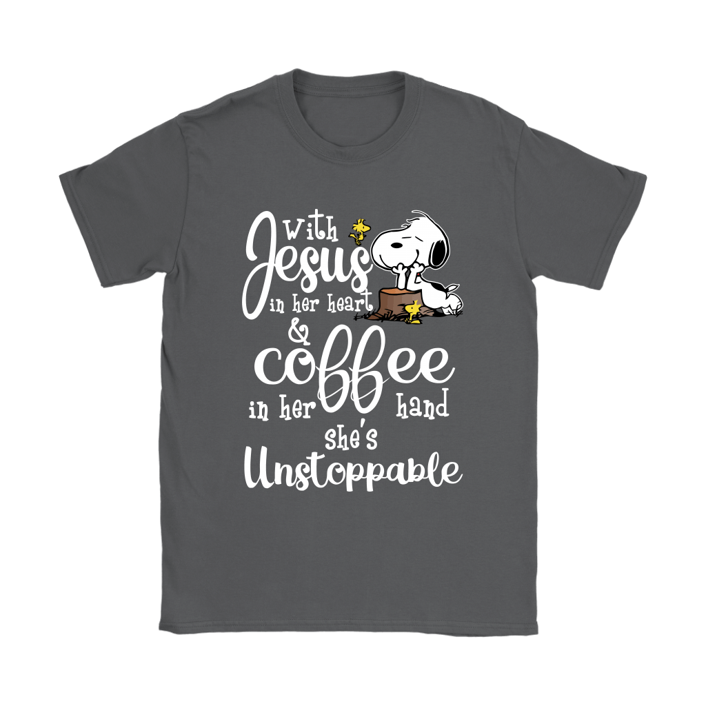 With Jesus In Her Heart And Coffee In Her Hand Snoopy Shirts 3