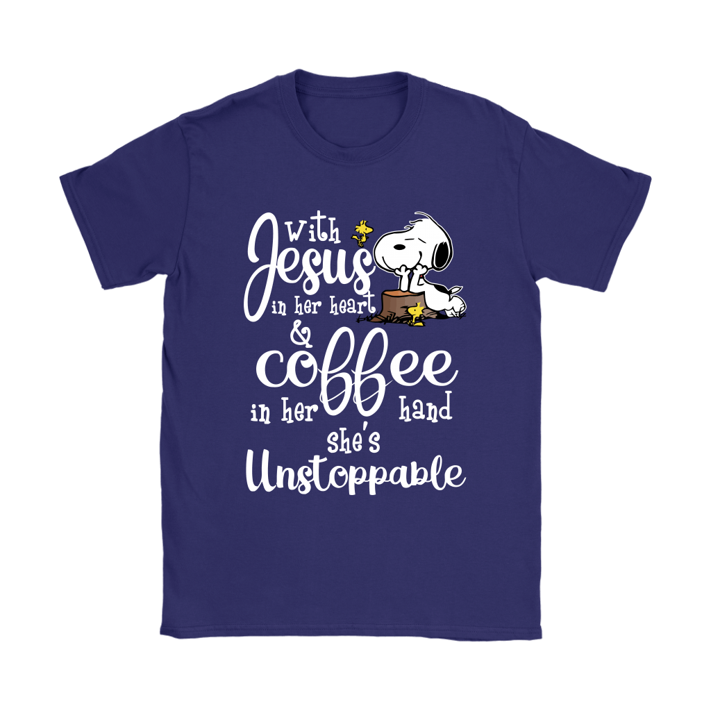 With Jesus In Her Heart And Coffee In Her Hand Snoopy Shirts 5