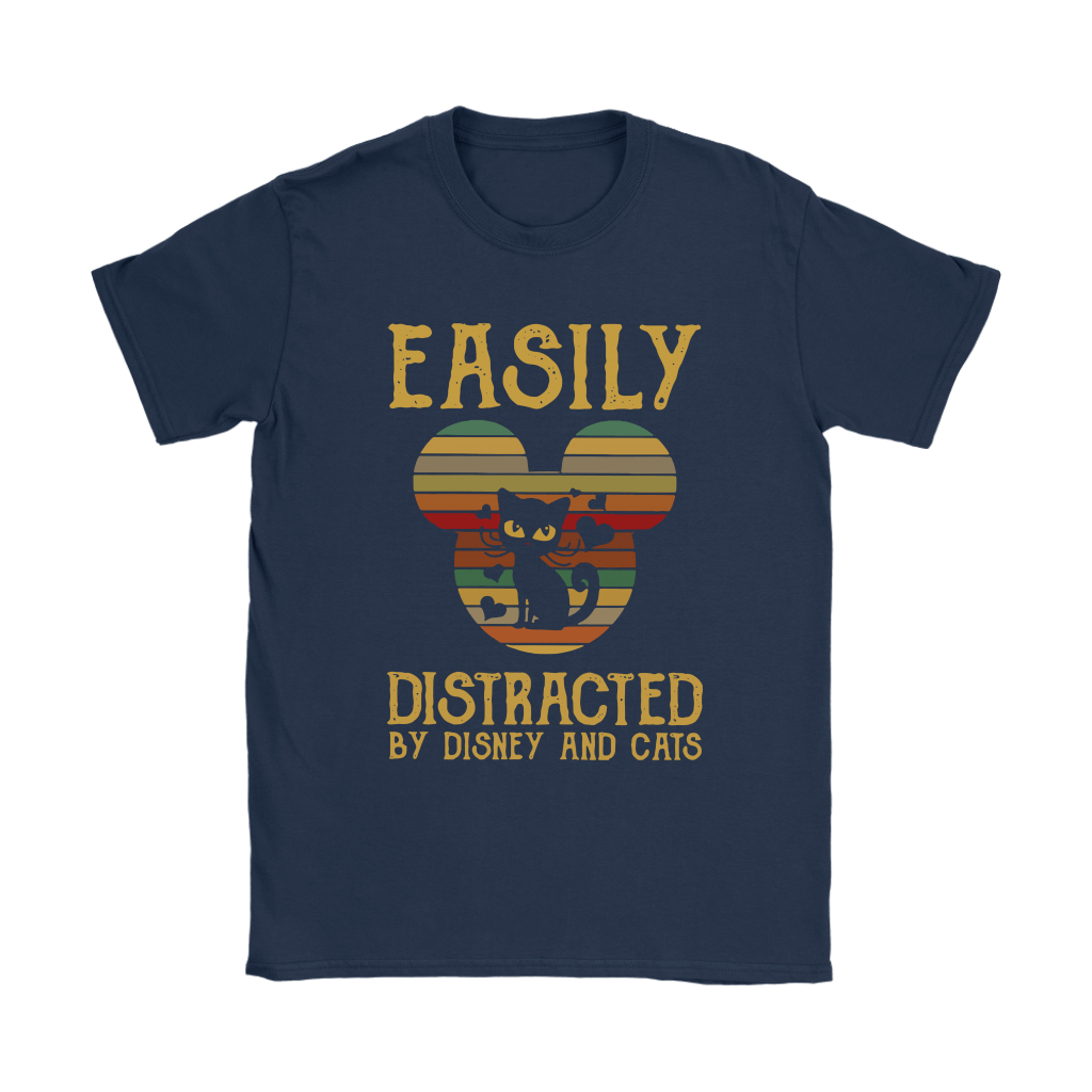 Easily Distracted By Disney And Cats Vintage Shirts 5
