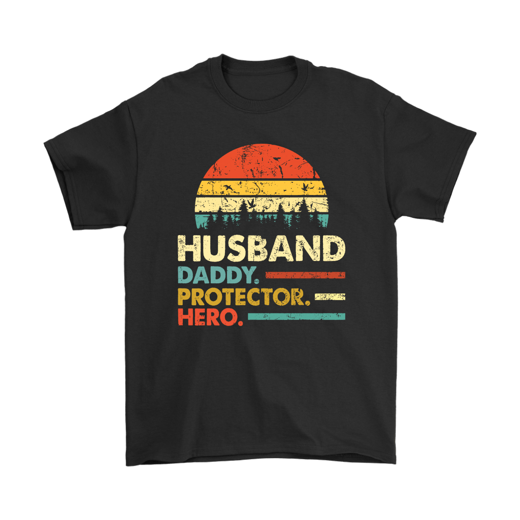 Husband Daddy Protector Hero Father's Day Vintage Shirts 1