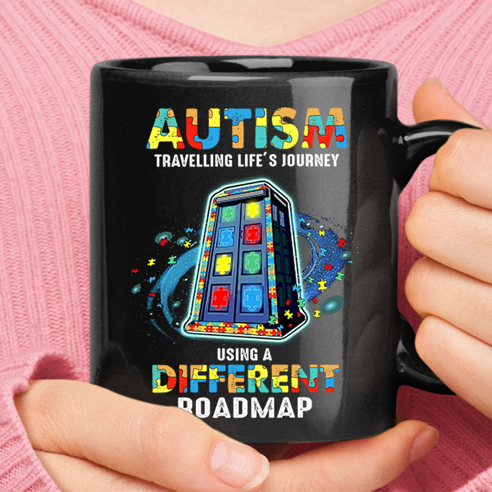 Autism Travelling Life's Journey Using Different Roadmap Tardis Mug 1