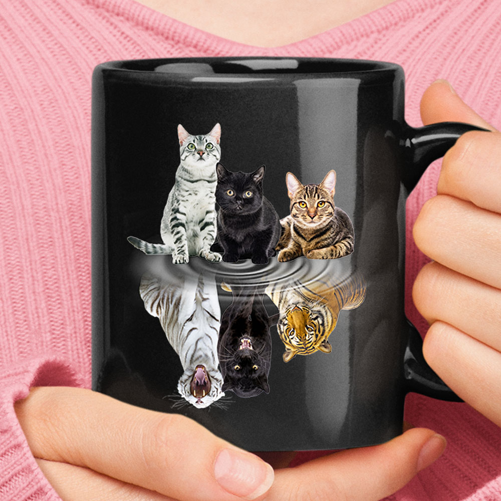 Three Cats True Self Reflection Tigers And Panther Mug 1