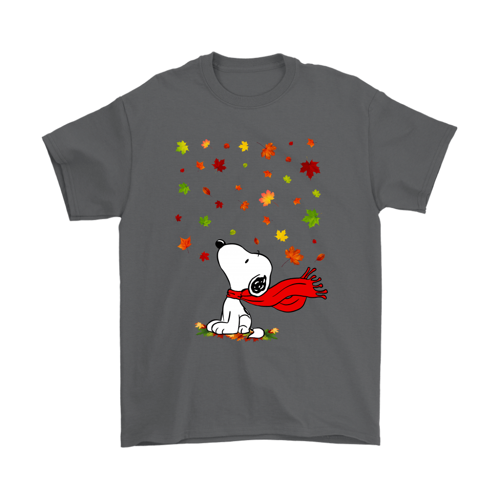 Autumn Maple Leaves Falling Red Scarf Snoopy Thanksgiving Shirts 2