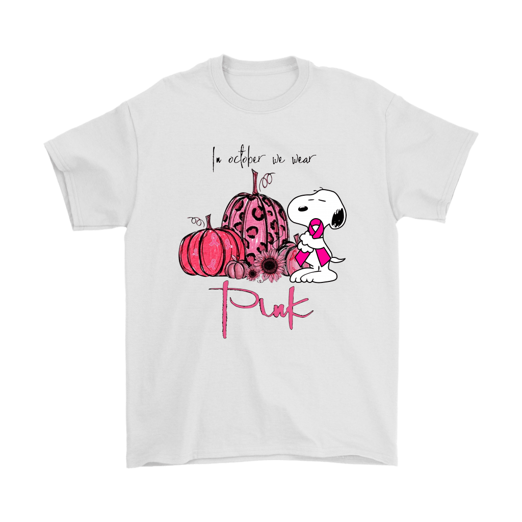 Snoopy In October We Wear Pink Ribbon Breast Cancer Awareness Shirts 1