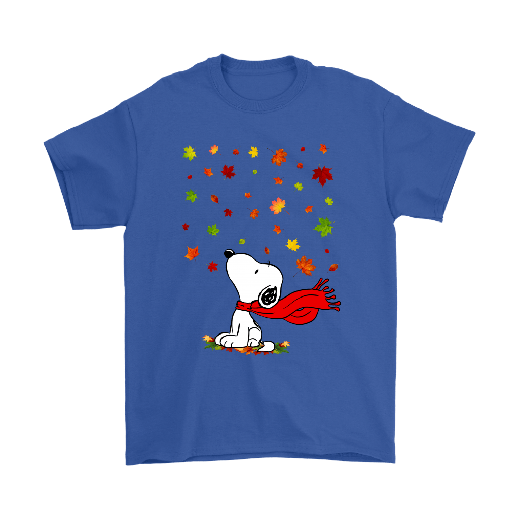Autumn Maple Leaves Falling Red Scarf Snoopy Thanksgiving Shirts 5