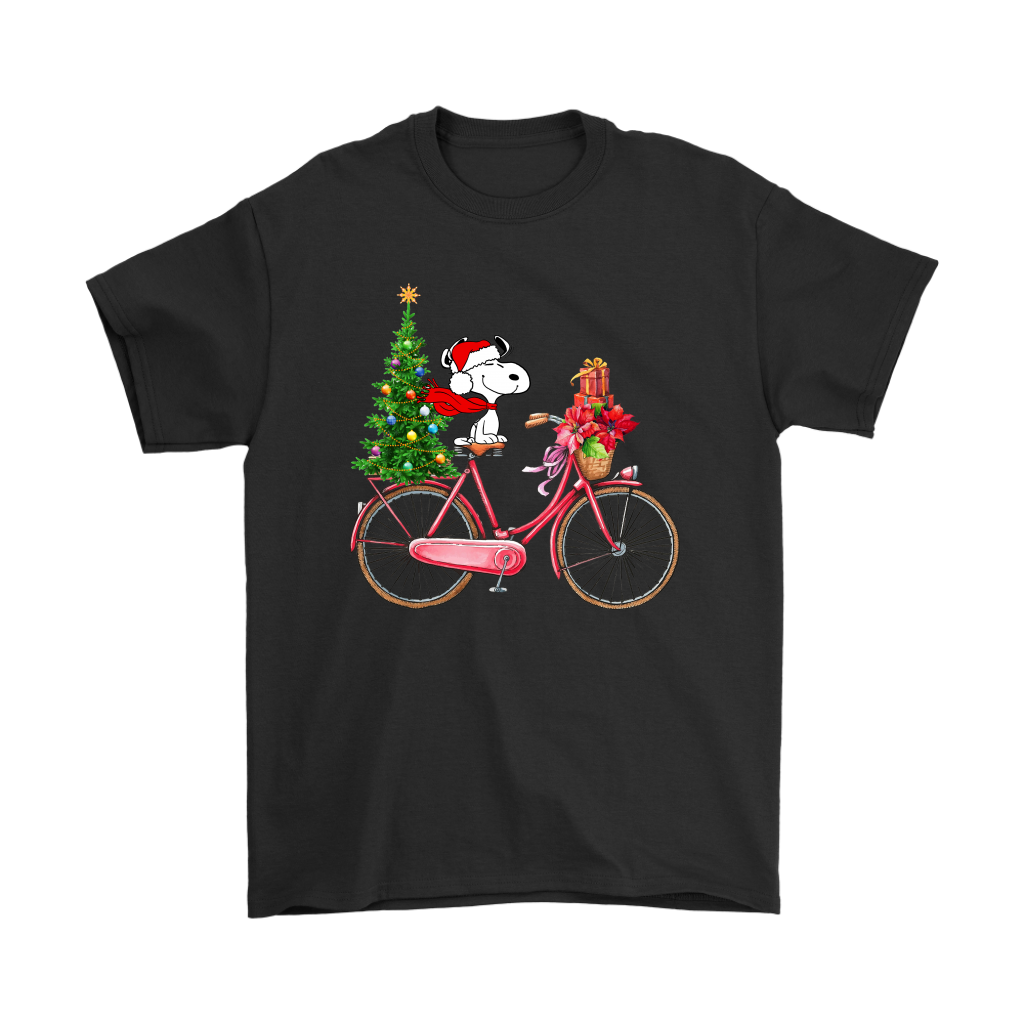 Enjoy The Bicycle Ride It's Christmas Time Snoopy Shirts 1