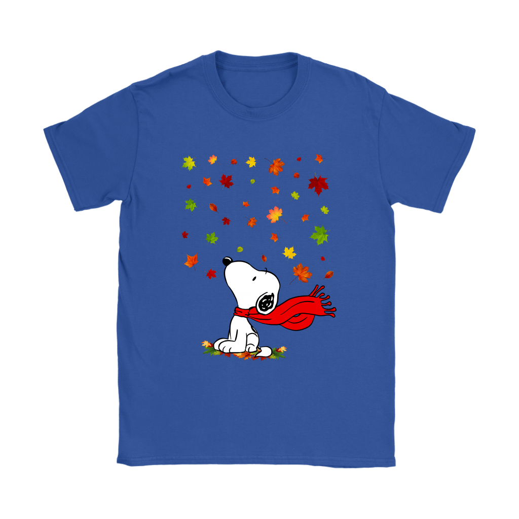 Autumn Maple Leaves Falling Red Scarf Snoopy Thanksgiving Shirts 10