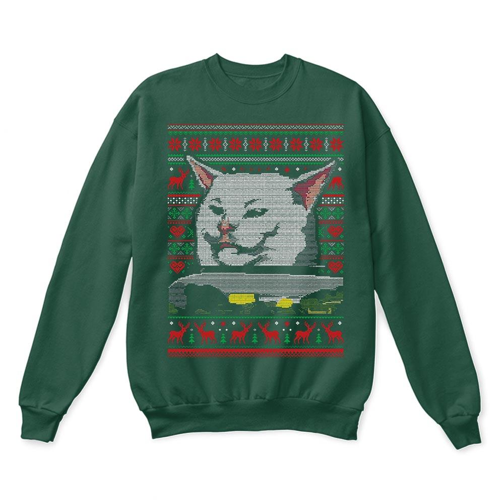 Woman Yelling At A Cat Meme Smudge the Cat Christmas Ugly Sweaters 4