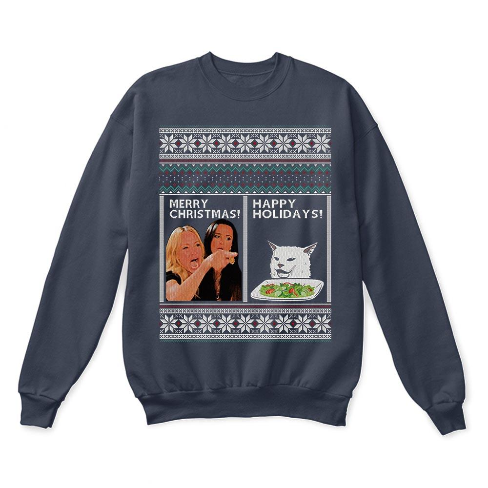 Woman Yelling At A Cat Merry Christmas Or Happy Holiday Ugly Sweaters 3