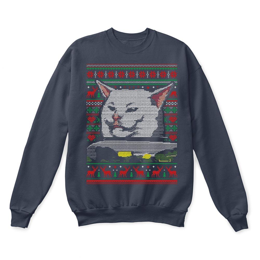 Woman Yelling At A Cat Meme Smudge the Cat Christmas Ugly Sweaters 3